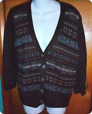 Nwt American Living Brown Nordic Print Cardigan Sweater X Large