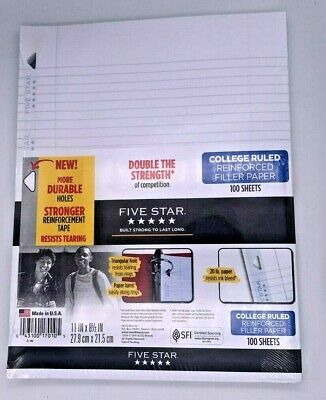 8 Pk Five Star College Ruled 11 X 8 12 Filler Paper 20 Lbs 3 Punched Holes