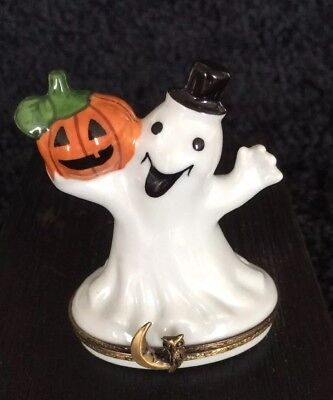 Limoges Halloween - Happy Ghost & Pumpkin Trinket Box - Hand-Painted Porcelain (Limoges Halloween)