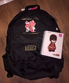 London 2012 backpack and notepad