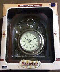 VTG Montclair Oak Wood Finish Quartz Mantel Desk Clock w/ Roman Numerals NIB