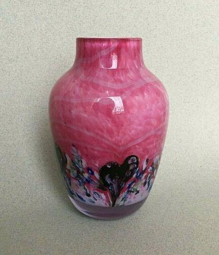 VINTAGE CAITHNESS STUDIO GLASS PINK CADENZA HEARTS VASE Colin Terris pink