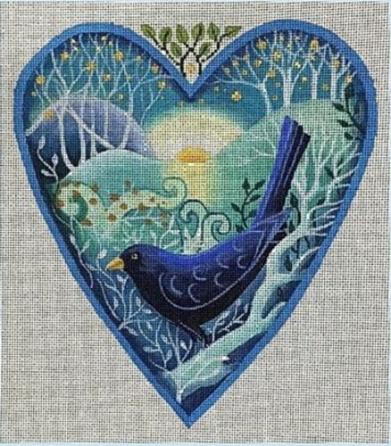 Needlepoint Handpainted Brenda Stofft First Song Heart 8x9