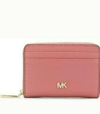 Michael Kors coin purse wallet Money Pieces Pebbled Leather Rose Pink ,tagged