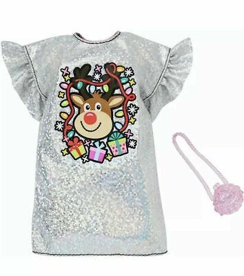 2019 Barbie Doll Christmas Outfit Holiday Clothes Sparkly Rudolf Dress & Purse ](Rudolf Outfit)
