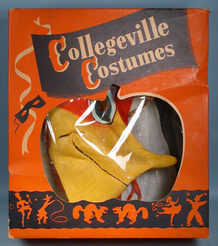 1950s Woody Woodpecker Halloween Costume w/Box & Mesh Mask & Crest Collegeville