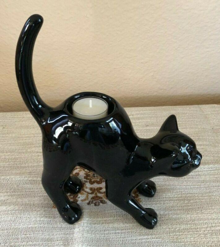 PARTYLITE BLACK CAT TEALIGHT CANDLE HOLDER P9415 HALLOWEEN HOME DECOR NIB