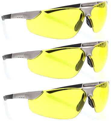 3 Pairs Lot Gray Yellow Lens Clear Safety Glasses Flexible Sghega Protective Z87