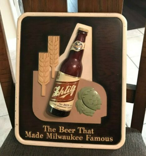 VINTAGE SCHLITZ BEER - BREWING COMPOSITION SIGN W/ BOTTLE - LABEL MILWAUKEE WI