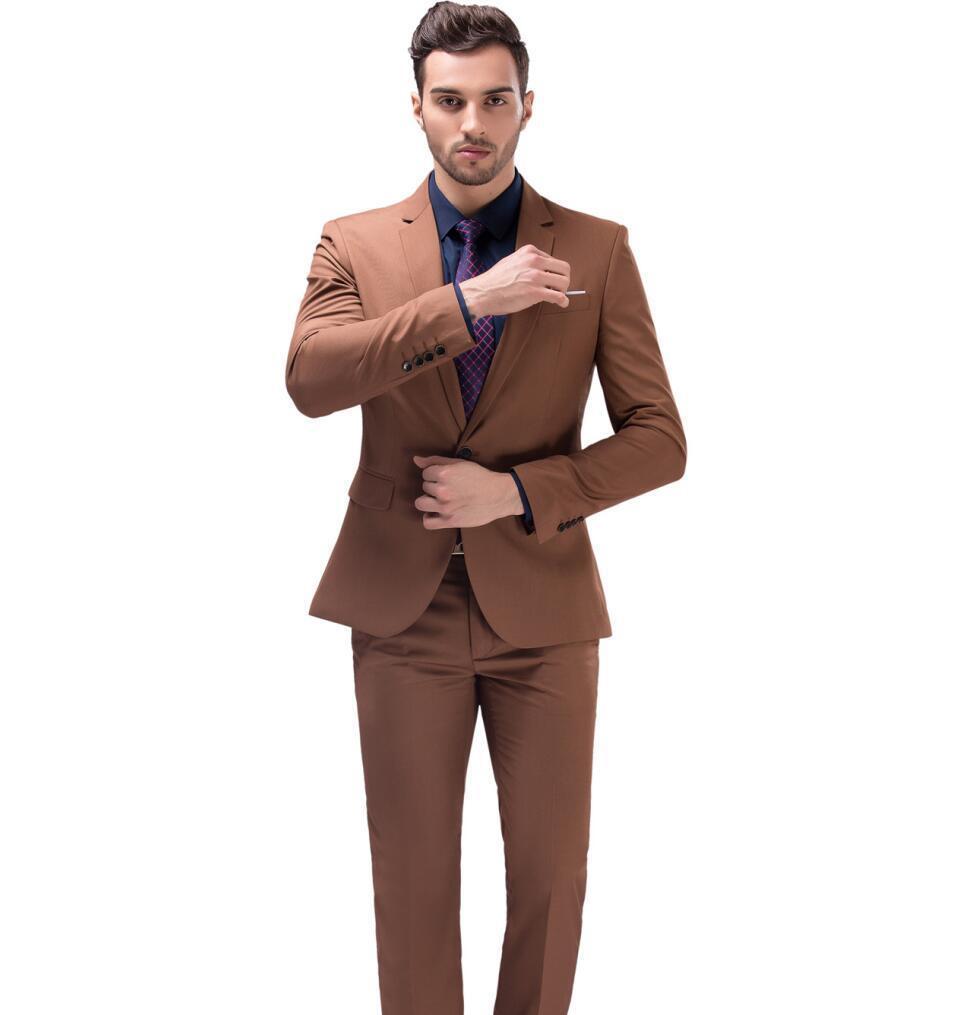 New Khaki Men\'s Business Casual Suit Slim Wedding Suits Two Piece ...