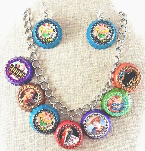 """Bottle Cap Charm 14"""" Necklace and Earrings bedazzled Retro Themed"""