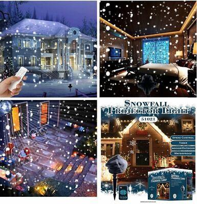 Christmas Xmas Light LED Snow Laser Projector Light Fairy Snowfall Lamp Outdoor