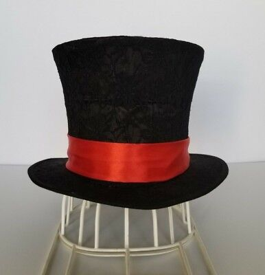 Top Hat Custom Black Topper Mad Hatter Red Satin Band Classic Victorian Size S Classic Mad Hatter Hat