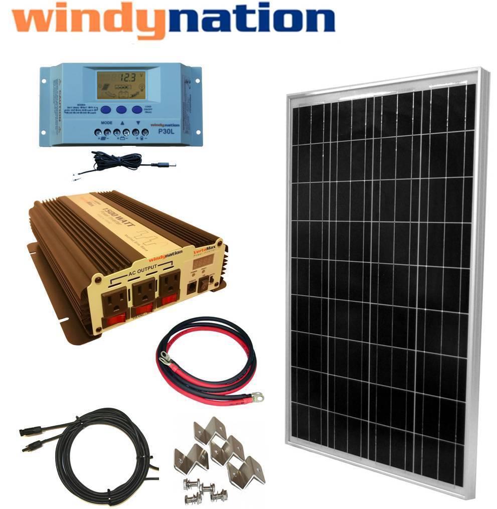 COMPLETE KIT 100 W Watt 100W  Solar Panel + 1500W Inverter 12V RV  Boat Off Grid