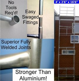 """DIY Scaffold Tower 6.9m (4' x 2'6"""" x 22'0"""" WH) Galvanised Steel taller than 2 storey house"""
