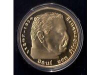 1 Oz GOLD PLATED ART ROUND *** PAUL VON HINDENBURG ( 1847 - 1934 ) IN A CAPSULE