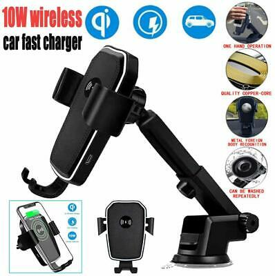Qi Wireless Fast Charging Car Charger Mount Holder Stand 2 in 1 For Cell -