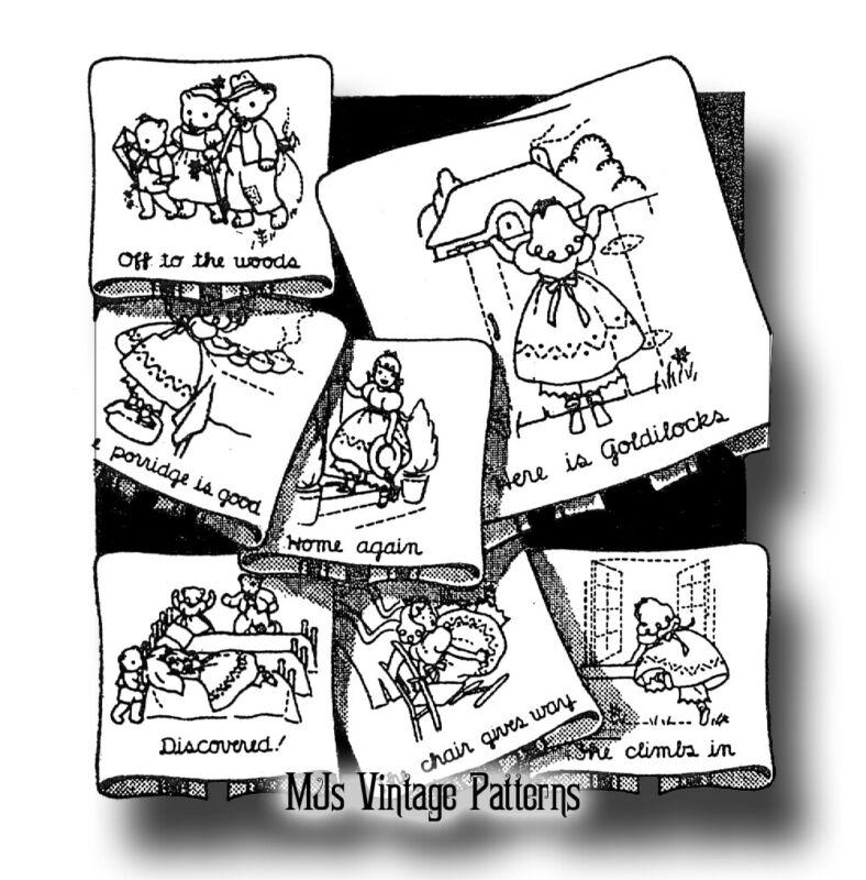 Vintage 1940s Embroidery Pattern ~ Goldilocks & The Three Bears