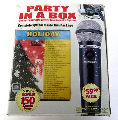 SALE - PARTY IN A BOX Karaoke System with 5 DVD's & Microphone On-Screen Lyrics
