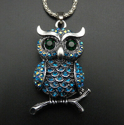 Betsey Johnson Blue Crystal Rhinestone Cute Owl Pendant Sweater Necklace