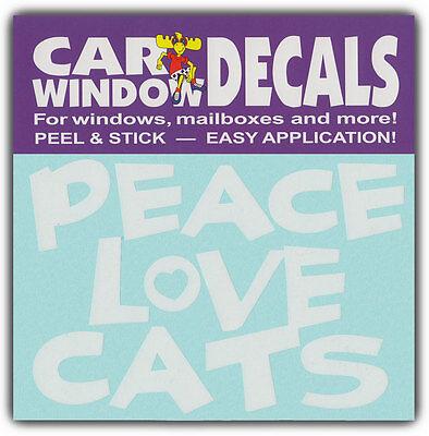 Car Window Decals: PEACE LOVE CATS | I Love Cats | Stickers Cars Trucks Glass