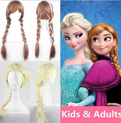 New Princess Elsa Anna Snow Queen Frozen Weaving Braid Cosplay Wig Kids Adult CA