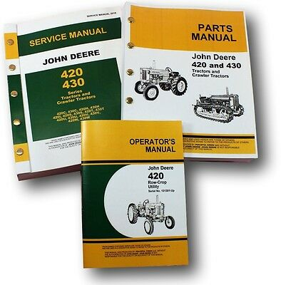 Service Manual Set For 420 420w Row Crop Utility Tractor Parts Catalog Operators