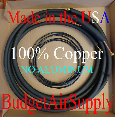 """1/4 x 3/8 x 15ft 1/2""""wall 100% Copper Ductless Mini Split Line set+Control Wire"""