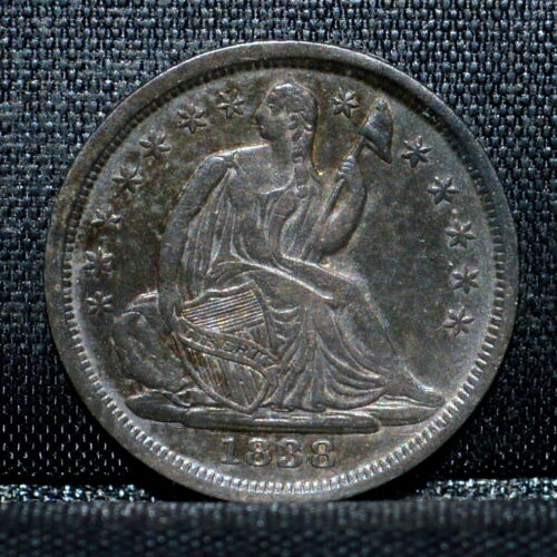 1838-P SEATED 1/2 HALF DIME ✪ XF EXTRA FINE DETAILS ✪ H10C LARGE STARS ◢TRUSTED◣