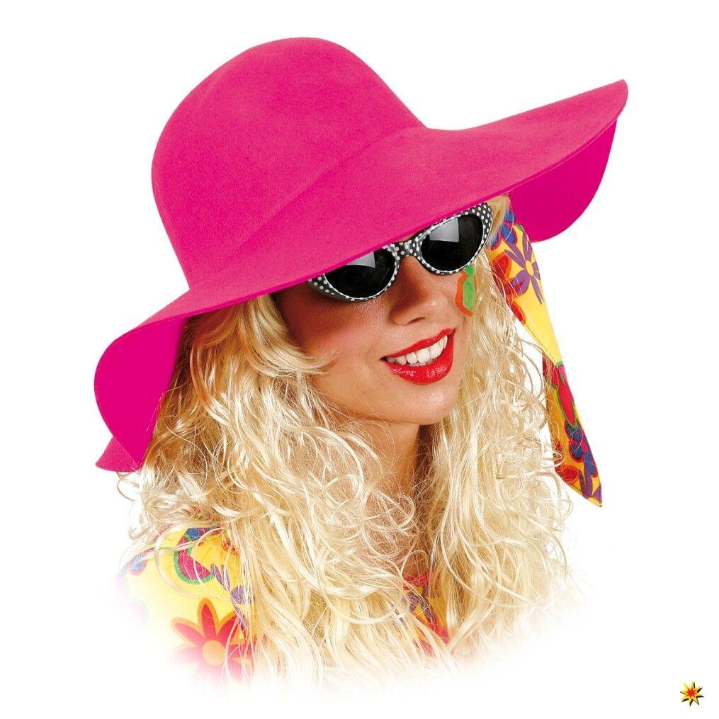 Damen Schlapphut pink Kostüm Zubehör Flower Power Hippie 70er Karneval Fasching