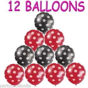 12 red black white polka dot spots helium balloons for Red and white polka dot decorations