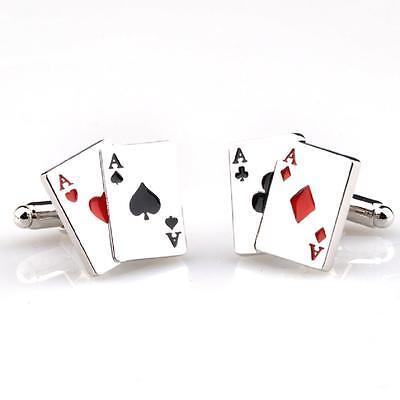 Asse 4 Vier Spielkarten Poker Bräutigam Manschettenknöpfe Kostüm Geschenkbox - Ass Karte Kostüm