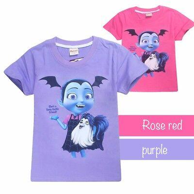 New Cute Girls Vampirina Summer 100% Cotton Short Sleeve T-shirt TOPS Costume](Top 100 Costumes)
