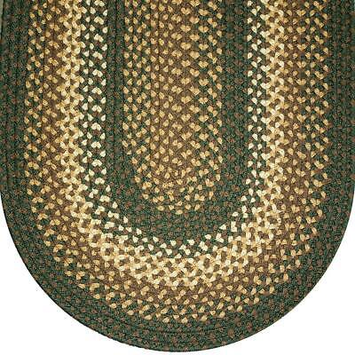 SAGE GREEN BASKET WEAVE BRAIDED AREA RUGS By COLONIAL RUG--MANY SIZES! -
