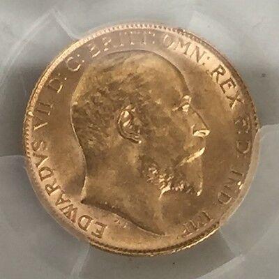 1910 gold half sovereign PCGS 62