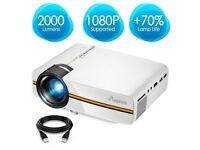 "ELEPHAS LED Video Projector,Support 1080P 150"" Portable Mini Multimedia Projector, White"