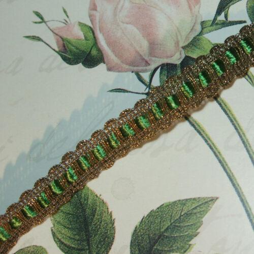 "Gold Metallic Trim w. silky Green Tape for ruching ribbon-work antique vtg 5/8"""