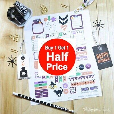 Buy 1 Get 1 50% off (add 2 to cart) Halloween Stationary & Stickers