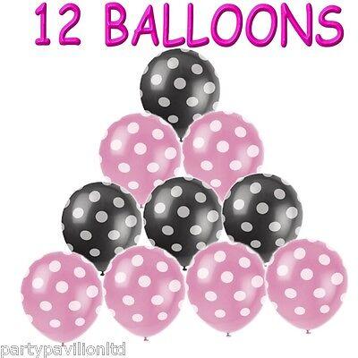 12 Pink Black White Polka Dot Spots Helium Balloons Birthday Party Decorations