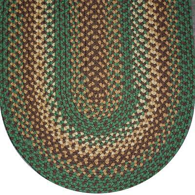 SEAFOAM GREEN BASKET WEAVE BRAIDED AREA RUGS By COLONIAL RUG--MANY SIZES! -