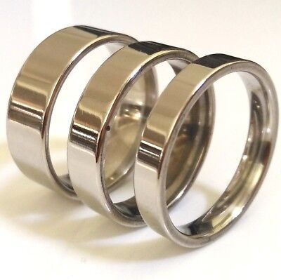 Wholesale 100 mix of 4mm 6mm 8mm Comfort-fit Silver Stainless Steel Band Rings