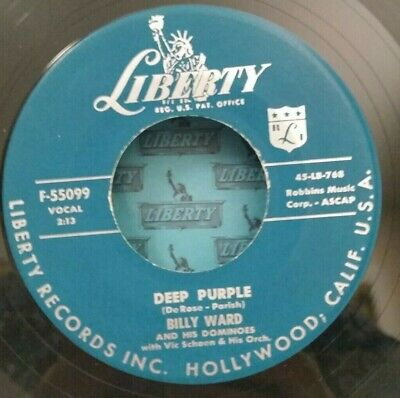 Billy Ward and His Dominoes Liberty 55099 DEEP PURPLE (GREAT DOO WOP 45) VG++ - Purple Domino