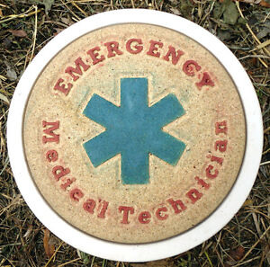 Plaster-concrete-Emergency-Medical-Technician-EMT-stepping-stone-plastic-mold