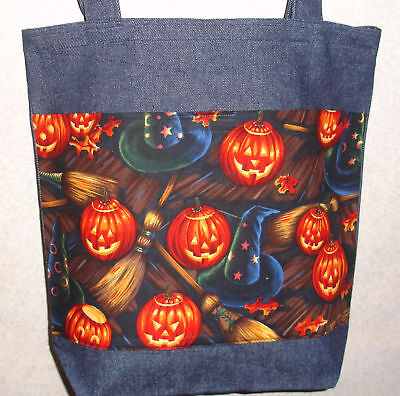 NEW Handmade Halloween Pumpkin Broom Large Treat Denim Tote Bag - Halloween Broom Treats