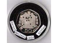 EEC 50P 1992 1993 EC PRESIDENCY 50P IS BRITAIN'S RAREST EVER DECIMAL CIRCULATED COIN BUNC
