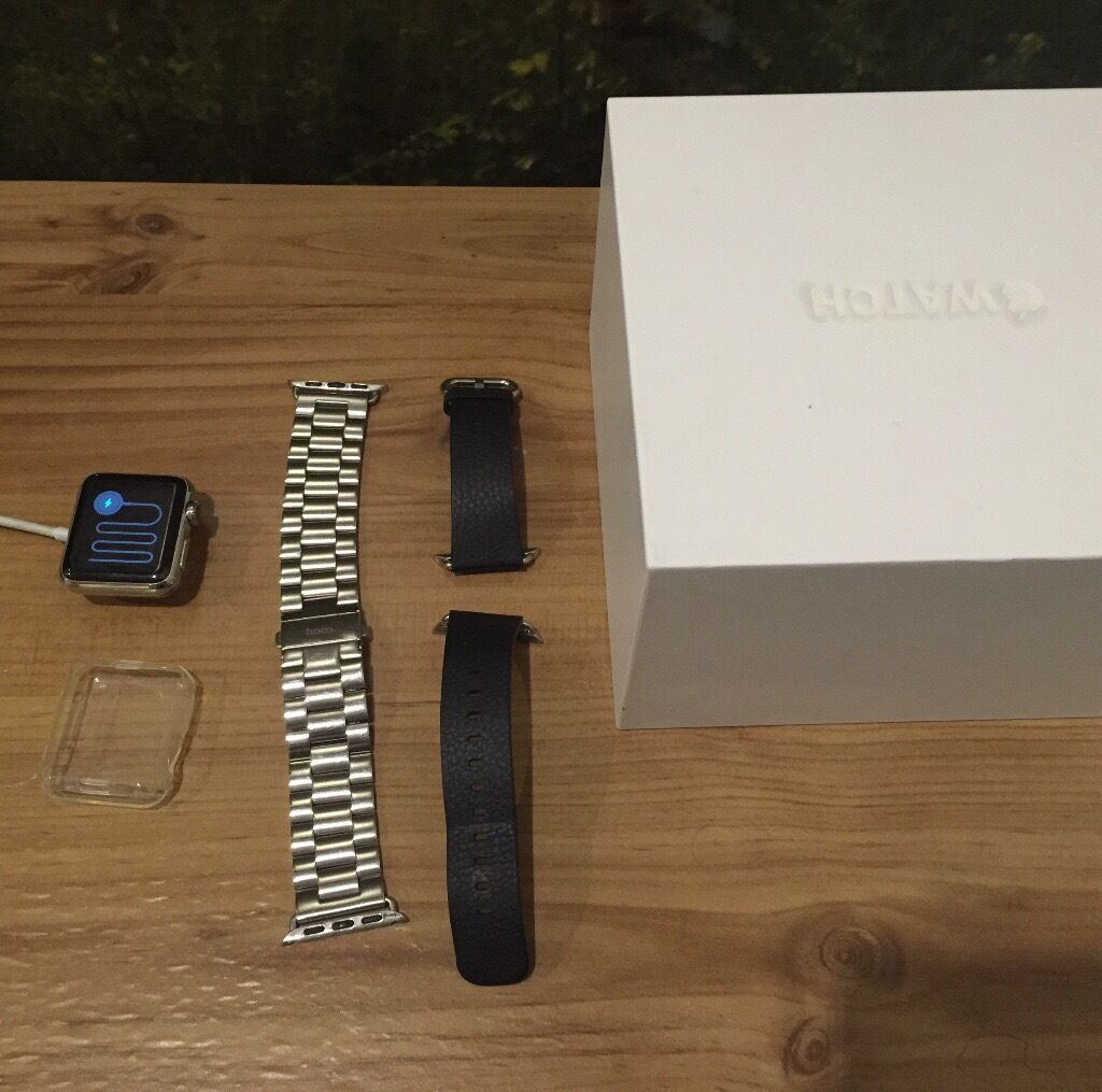 Apple Watch 38mm stainless steelin Crewe, CheshireGumtree - Apple Watch 38mm stainless steel version immaculate condition Stainless steel strap as well as the black sport band Charger and original box included