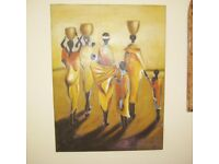 Delightful And Vibrant Original Oil Painting Of African Water Carriers.