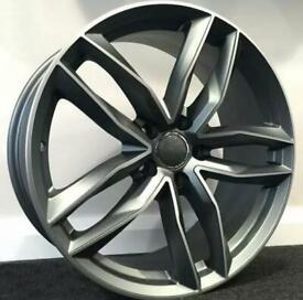 "x4 21"" RS6 C Style Alloys Gunmetal Polish Audi A7 A8 Q5 SQ5 5x112 Et35 9.5J"