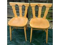 PAIR OF VERY HEAVY PINE CHAIRS – AVERAGE WEAR & TEAR – WOULD MAKE GREAT PAINTING PROJECT