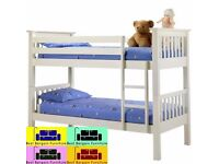 "BRAND NEW WHITE WOODEN BUNK BED "" NEW DESIGN ,CAN SPLIT INTO 2 SINGLE BEDS,VERY STRONG ALL OVER"